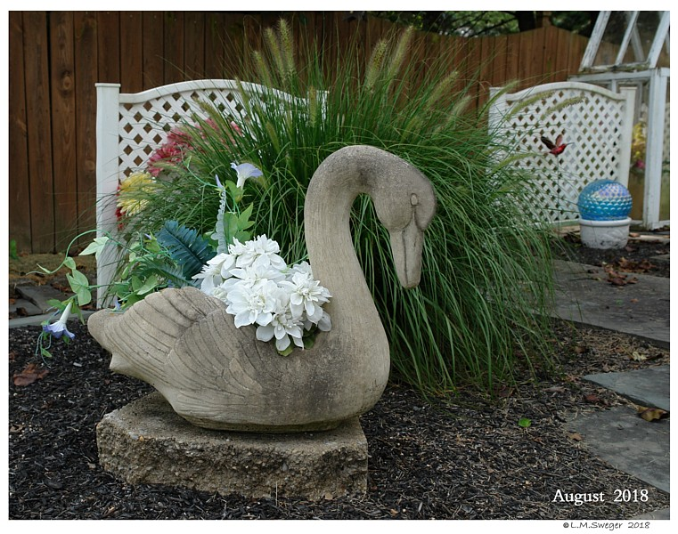 OLD Cement Swan Planter