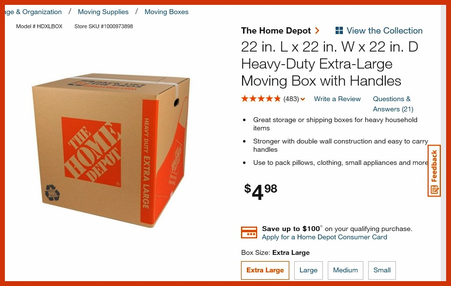 LARGE BOX HOME DEPOT
