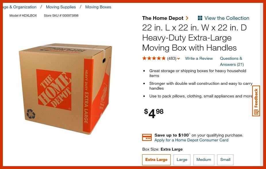 LARGE BOX HOME DEPOT