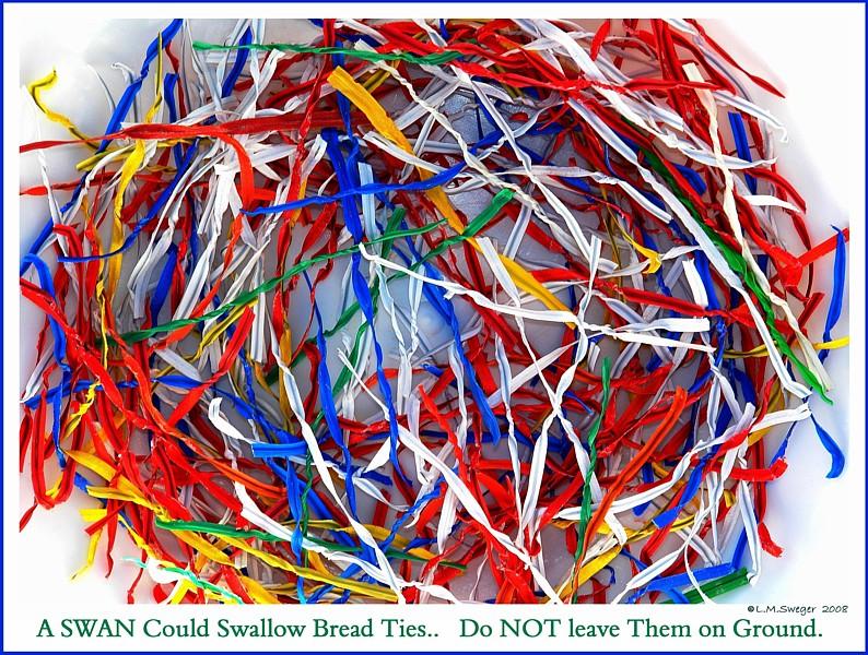NO Bread Poor Diet for Swans Bread Twist Ties